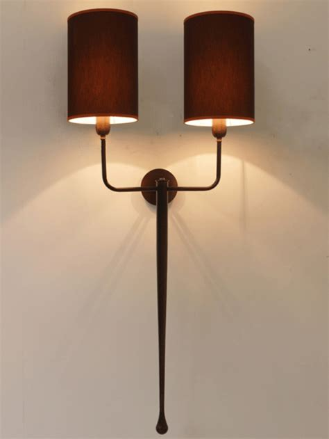 double wall light with antique finish brown and red