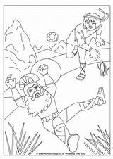 Goliath David Colouring Pages Bible Coloring Activityvillage Activity Slingshot Drawings Young Simple sketch template