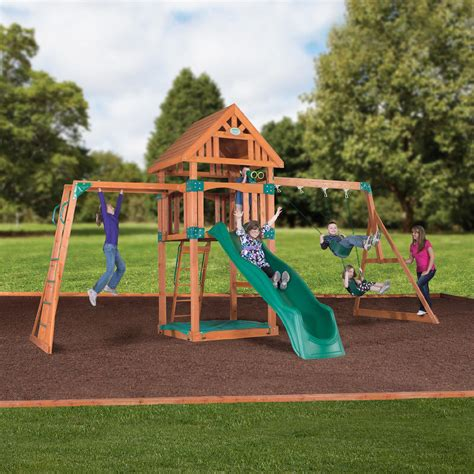 Backyard Discovery Cedar View Swing Set by Backyard Discovery Capitol Peak Wooden Swing Set Free