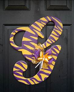 Lsu wooden letter g door hanger by rkdragonfly on etsy for Lsu wooden letters