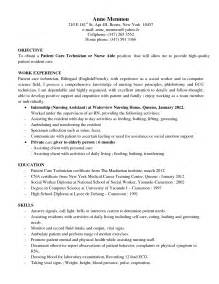 patient care resume objective patient care technician resume sle sles of resumes