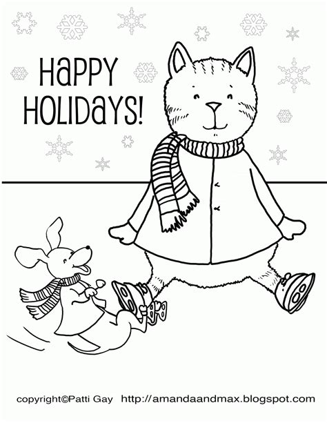 happy holidays coloring page coloring home