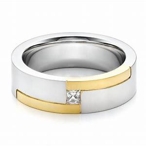 men39s two tone and diamond wedding band 100123 With mens wedding rings two tone