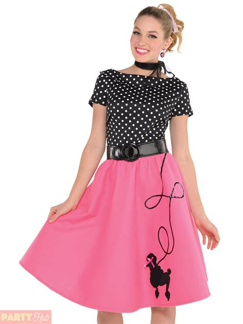 Ladies 1950s Rock n Roll Costume Adult 50s Poodle Fancy Dress Womens Pink Outfit | eBay