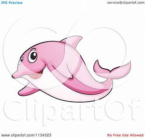 Cartoon Of A Pink Dolphin - Royalty Free Vector Clipart by ...