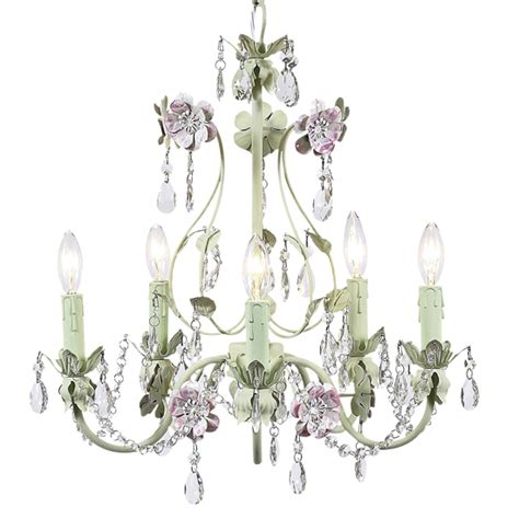 pink and green 5 arm flower garden chandelier by jubilee