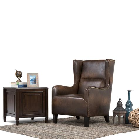 simpli home distressed brown bonded leather wing