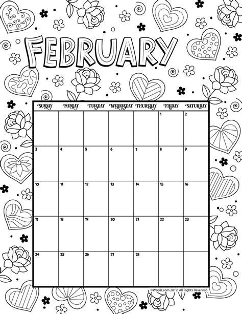 february coloring calendar printables kids calendar
