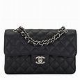 Chanel Black Quilted Caviar Small Classic Double Flap Bag | World's Best