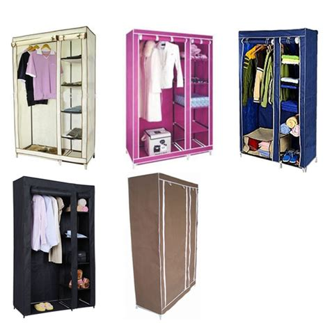 Canvas Wardrobe by Canvas Wardrobe With Clothes Rail Shelves New