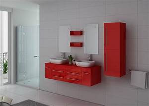Meuble Vasque Double : meuble de salle de bain rouge double vasque meuble double vasque suspendu dis748 ~ Teatrodelosmanantiales.com Idées de Décoration