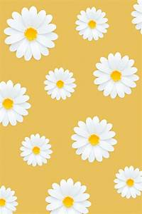 Download premium psd of White daisy pattern on yellow ...