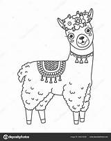 Llama Coloring Outline Jumping Doodle Drawn Elements sketch template