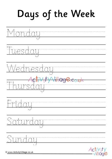 days   week handwriting worksheet