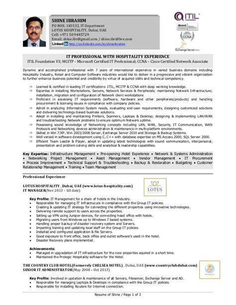Mcitp Certified Resumes by Shine It Professional With Hospitality Experience Resume