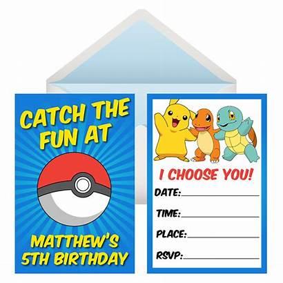Pokemon Invitations Party Birthday Personalized Invites Pk