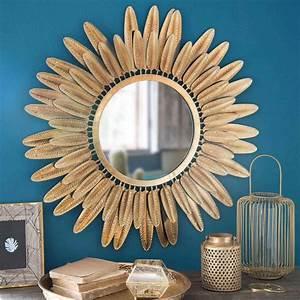 Grand Miroir Maison Du Monde : miroir rond plumes en m tal dor pluma maisons du monde ~ Teatrodelosmanantiales.com Idées de Décoration