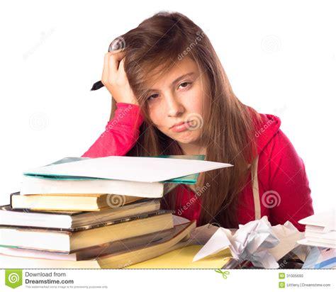 girl  homework stock photo image  hopeless