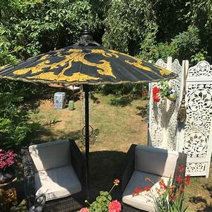 Large Size Luxury Garden Parasol Black And Gold