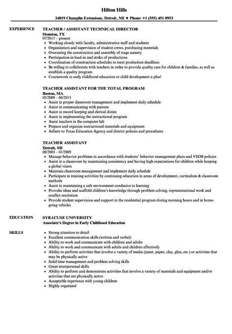 teacher assistant resume samples velvet jobs