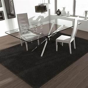 table en verre design pieds en croix pure sur cdc design With grande table en verre