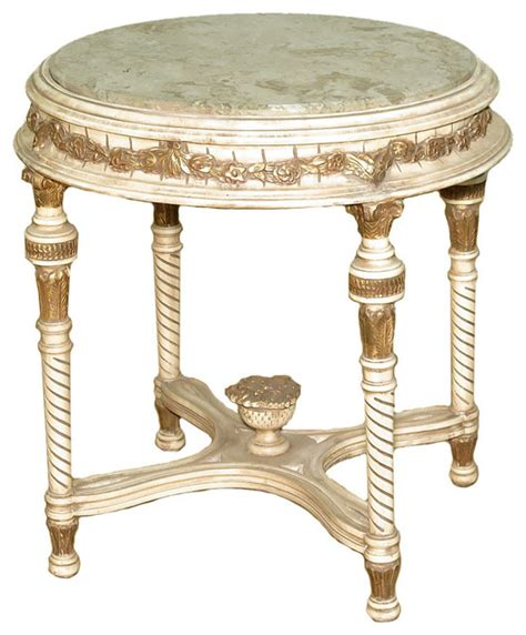 Consigned Antique Cream French Style Ornate Occasional Round Table, Marble Top   Traditional