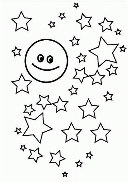 Coloring Moon Stars Printable Many Accompanied Childrens
