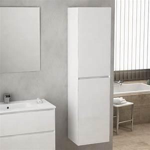 Armoire Rangement Salle De Bain : colonne salle de bain rioja 174 cm blanc brillant ~ Melissatoandfro.com Idées de Décoration