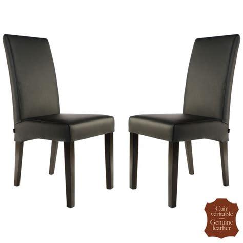 chaise en cuir noir 2 chaises en cuir de vachette pleine fleur noir florence six