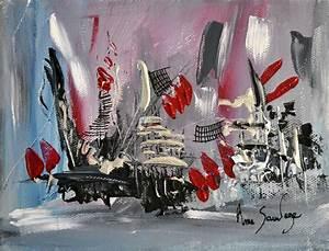 Peinture Blanc Gris : charmant peinture noir et blanc avec tableau contemporain gris noir rouge inspirations images ~ Nature-et-papiers.com Idées de Décoration