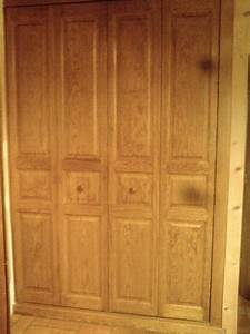 2 portes de placard pliantes en pin type kz With portes de placard kz