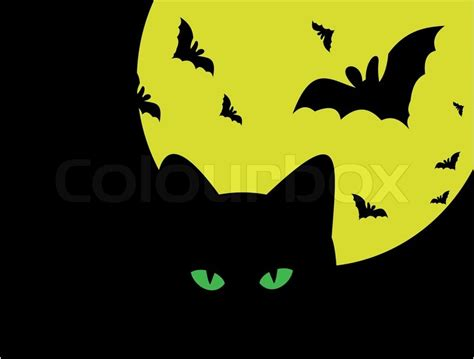 halloween silhouette  cat   moon  bats