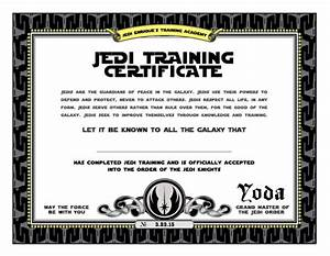 Star wars birthday jedi training certificate printable for Star wars jedi certificate template free