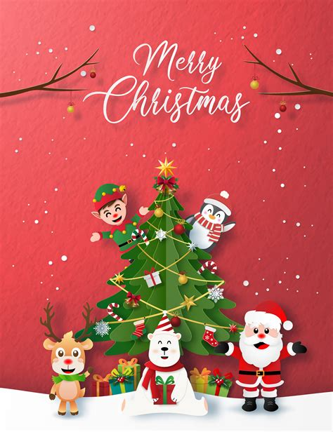 paper style merry christmas card   vectors