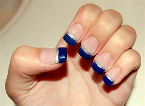 Blue french tips with silver line | My Style | Pinterest ...
