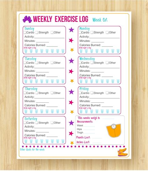 fitness journal 9 best images of free printable exercise journal printable exercise log workout free