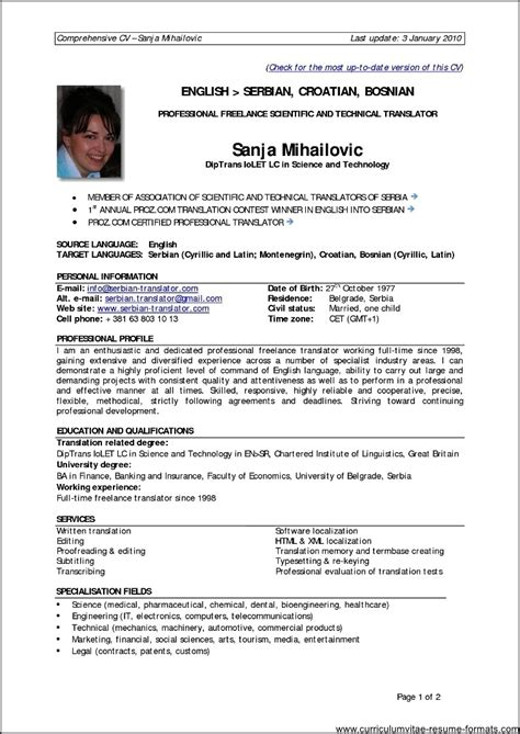 Professional Resume Format by Cv Format For Experienced Professionals Resume