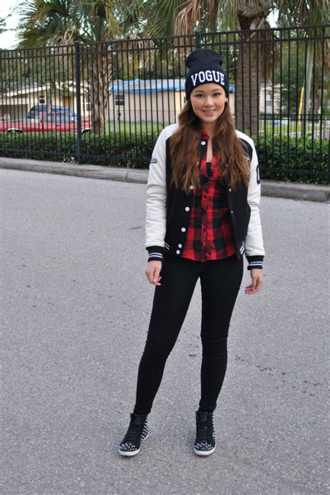 Raspberry Jam Outfit 128 - Varsity Jacket in Black and White
