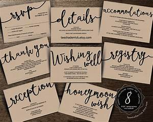 Wedding insert cards pdf template instant download for Wedding invitation include registry