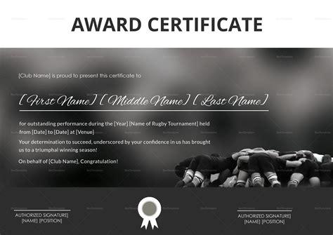 certificate  rugby tournament award design template