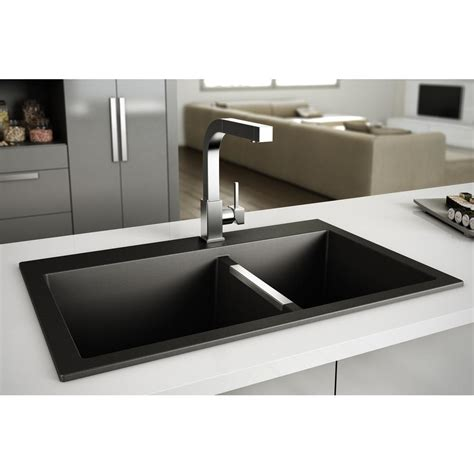 black granite kitchen sink granite sink double bowls black plumbing artika