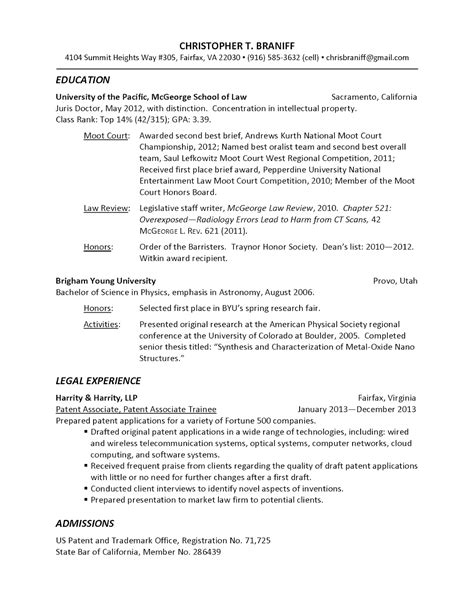 Patent Resume by Jrcls Dc Registered Patent Attorney Looking For Dc Area Position