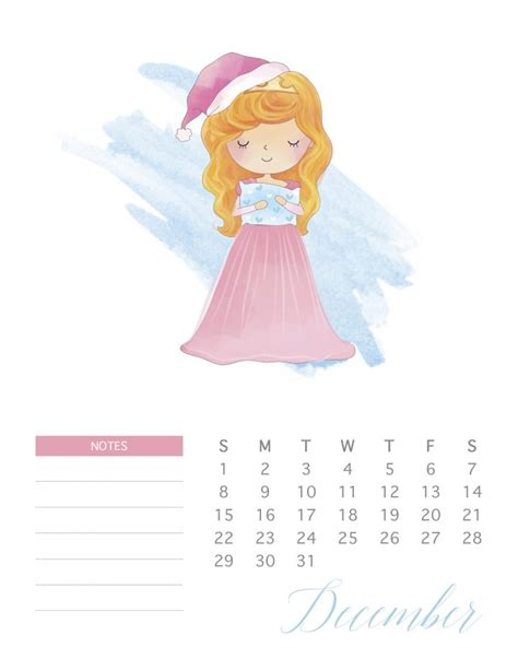 printable  watercolor princess calendar