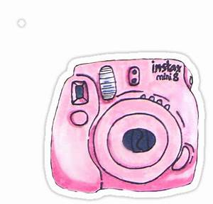 """Pink instax camera"" Stickers by pocketfaun Redbubble"