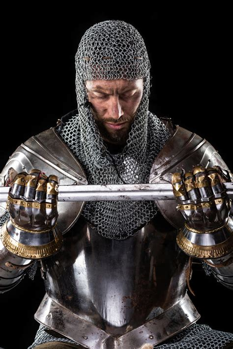 Medieval Warrior With Chain Mail Armour And Sword Stock ...