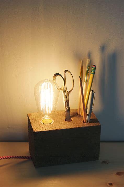 diy wooden base desk lamp poppytalk