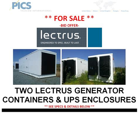 bid offer lectrus generator ups containers available for sale via