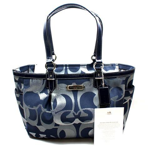 coach gallery optic medium signature tote bag blue  coach