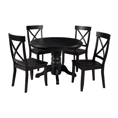 Shop Home Styles Black 5 Piece Dining Set With Round