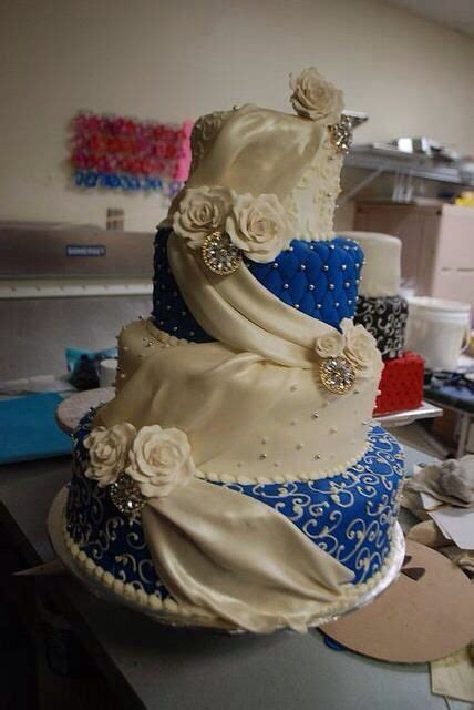 elegant beautiful wedding cake royal blue  champagne